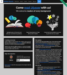 The welcoming front page of Infinite Ulysses. http://www.infiniteulysses.com/